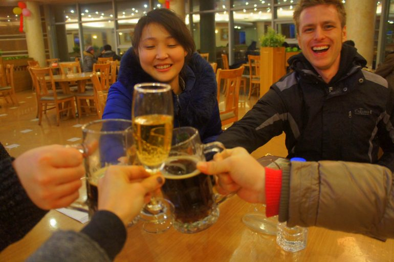 Drinking beer in North Korea