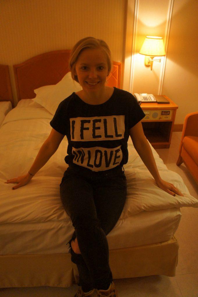 A girl in a hotel