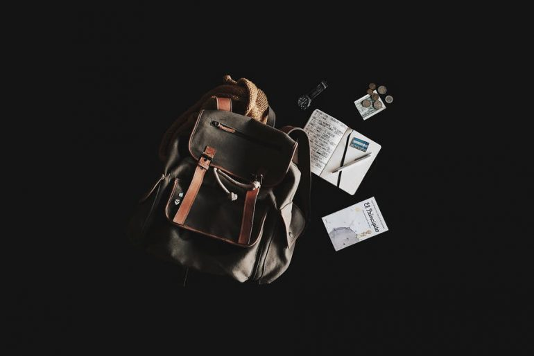 backpack and a notebook