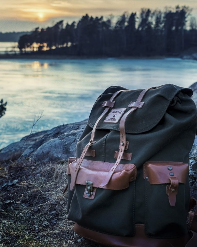 backpack at the river
