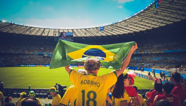 Brazilian man in the stadium