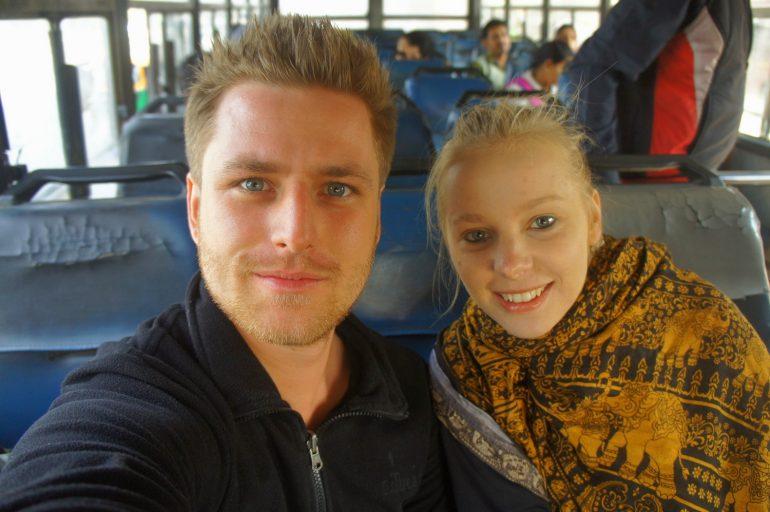 eTramping bus selfie in India